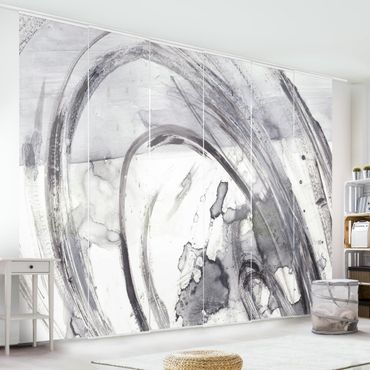 Schiebegardinen Set - Sonar Schwarz Weiß II - Flächenvorhang