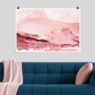 Poster - Abstrakte Berge Rosa mit Goldene Linien - Querformat 2:3