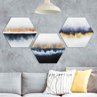 Hexagon Bild Forex 3-teilig - Elisabeth Fredriksson - Aquarell Horizont Gold Blau