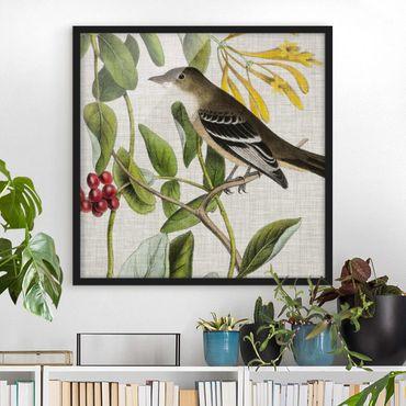 Bild mit Rahmen - Vogel auf Leinen Gelb II - Quadrat 1:1
