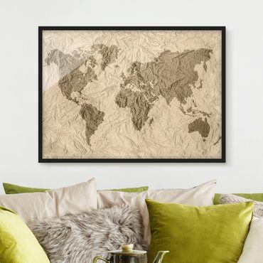 Bild mit Rahmen - Papier Weltkarte Beige Braun - Querformat 3:4