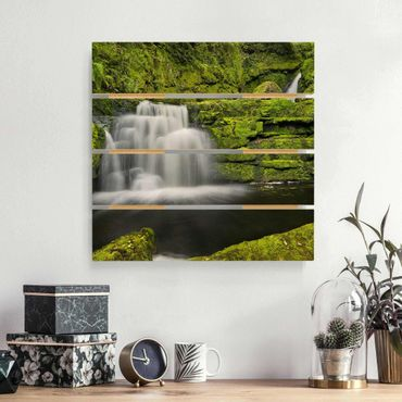 Holzbild - Lower McLean Falls in Neuseeland - Quadrat 1:1