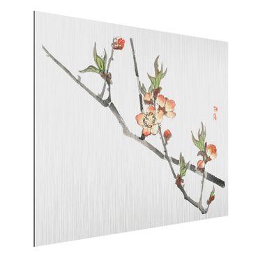 Aluminium Print gebürstet - Asiatische Vintage Zeichnung Kirschblütenzweig - Querformat 3:4