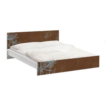 Möbelfolie für IKEA Malm Bett niedrig 140x200cm - Klebefolie Blaue Blumenskizze
