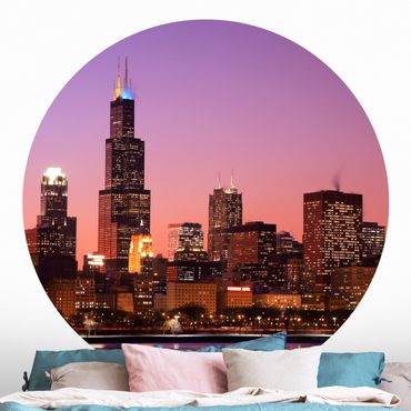 Runde Tapete selbstklebend - Chicago Skyline