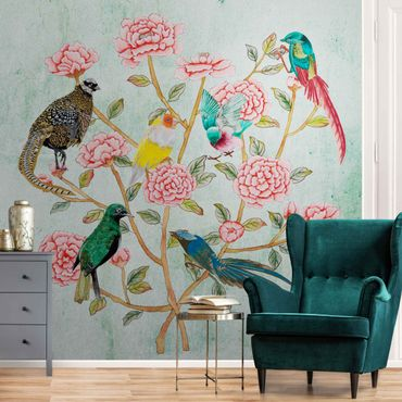 Metallic Tapete  - Chinoiserie Collage in Mint II