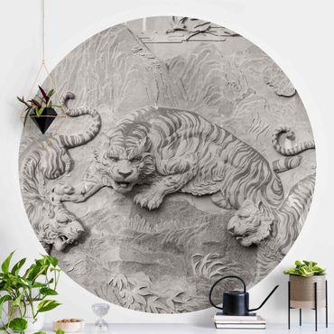 Runde Tapete selbstklebend - Chinoiserie Tiger in Steinoptik