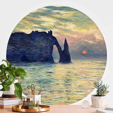 Runde Tapete selbstklebend - Claude Monet - Felsen Sonnenuntergang