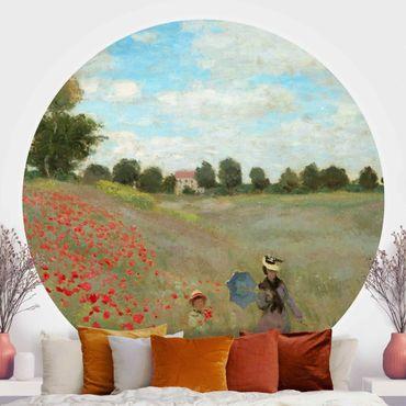 Runde Tapete selbstklebend - Claude Monet - Mohnfeld bei Argenteuil