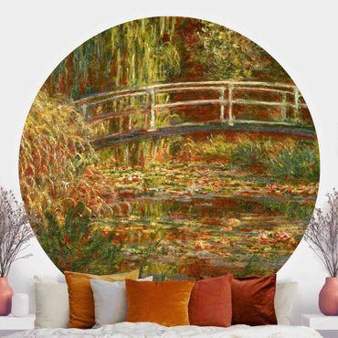 Runde Tapete selbstklebend - Claude Monet - Seerosenteich und japanische Brücke (Harmonie in rosa)
