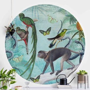 Runde Tapete selbstklebend - Colonial Style Collage - Äffchen und Paradiesvögel
