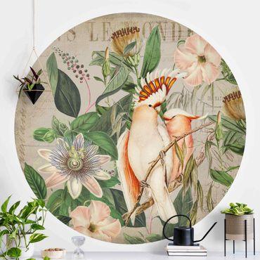 Runde Tapete selbstklebend - Colonial Style Collage - Rosa Kakadu