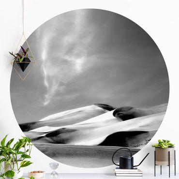 Runde Tapete selbstklebend - Colorado Dünen Schwarz-Weiß