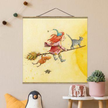 Stoffbild mit Posterleisten - Frida und Kater Pumpernickel - Quadrat 1:1