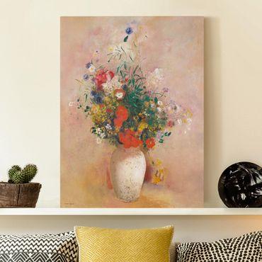 Leinwandbild - Odilon Redon - Vase mit Blumen (rosenfarbener Hintergrund) - Hochformat 4:3