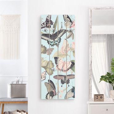 Wandgarderobe Holz - Vintage Collage - Schmetterlinge und Libellen