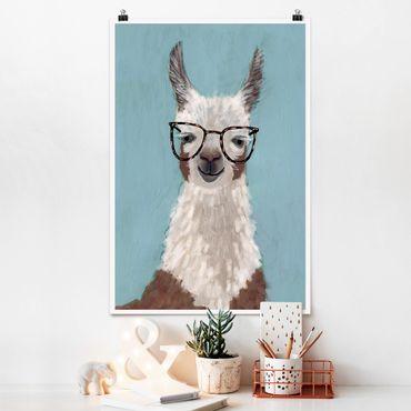Poster - Lama mit Brille II - Hochformat 3:2