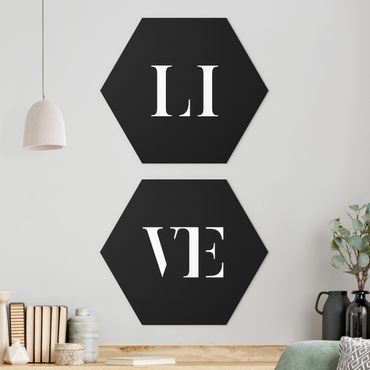 Hexagon Bild Alu-Dibond 2-teilig - Buchstaben LIVE Weiß Set I