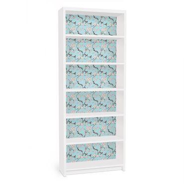 Möbelfolie für IKEA Billy Regal - Klebefolie Hellblaues Blumenmuster