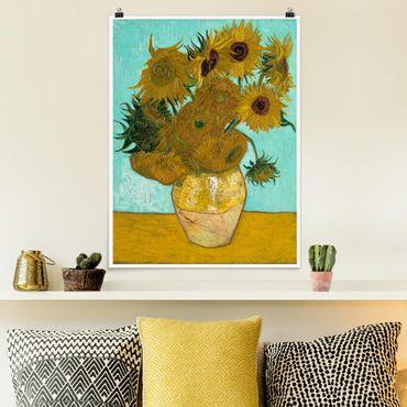 Poster - Vincent van Gogh - Vase mit Sonnenblumen - Hochformat 3:4