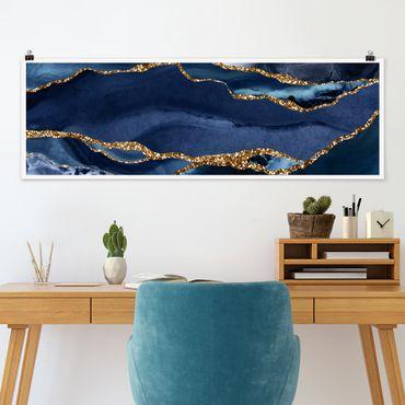 Poster - Goldene Glitzer Wellen vor Blau - Panorama Querformat