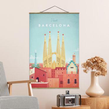 Stoffbild mit Posterleisten - Reiseposter - Barcelona - Hochformat 3:2