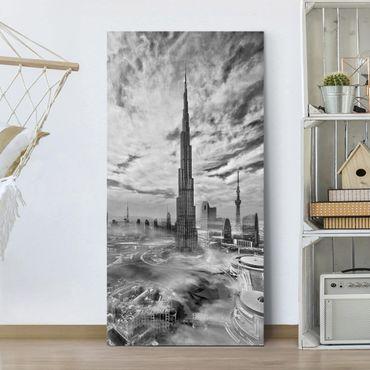 Leinwandbild - Dubai Super Skyline - Hochformat 2:1