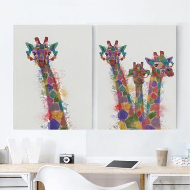 Leinwandbild 2-teilig - Regenbogen Splash Giraffen Set I - Hoch 4:3