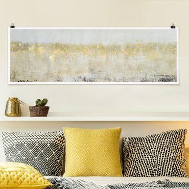 Poster - Goldene Farbfelder I - Panorama Querformat