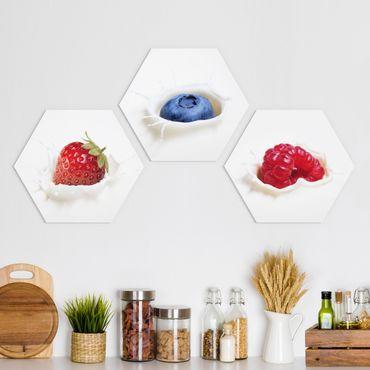Hexagon Bild Forex 3-teilig - Früchte Milch Splash