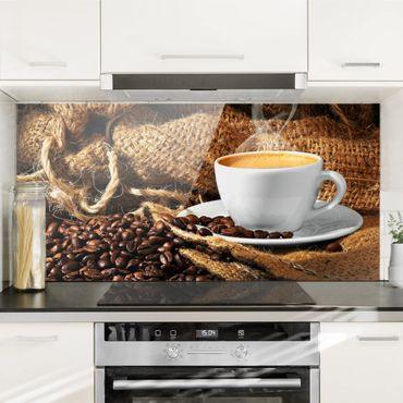 Spritzschutz Glas - Kaffee am Morgen - Querformat - 2:1