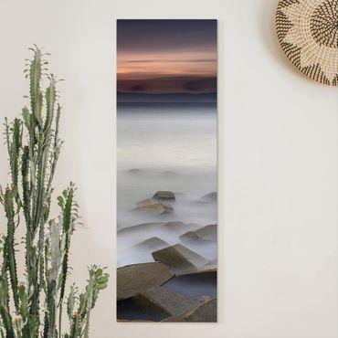 Leinwandbild - Sonnenuntergang im Nebel - Panorama Hochformat 3:1