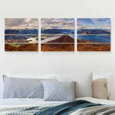 Holzbild 3-teilig - Roys Peak in Neuseeland - Quadrate 1:1