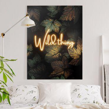 Leinwandbild - Wild Thing goldene Blätter - Hochformat 4:3
