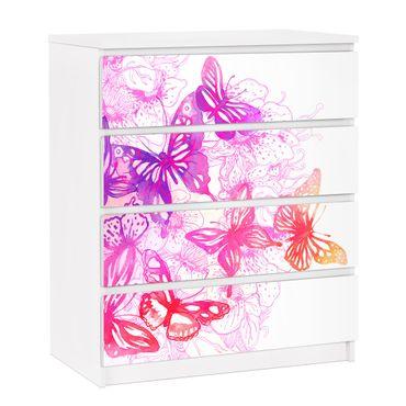 Möbelfolie für IKEA Malm Kommode - selbstklebende Folie Schmetterlingstraum