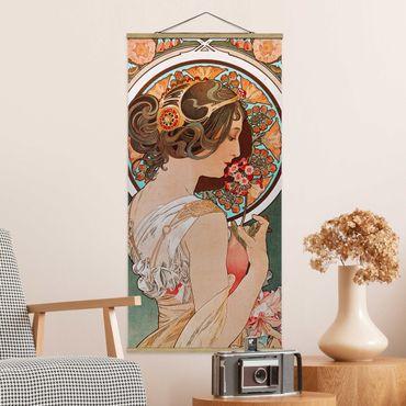Stoffbild mit Posterleisten - Alfons Mucha - Schlüsselblume - Hochformat 2:1