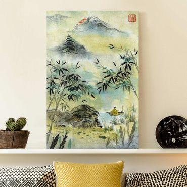 Leinwandbild - Japanische Aquarell Zeichnung Bambuswald - Hochformat 3:2