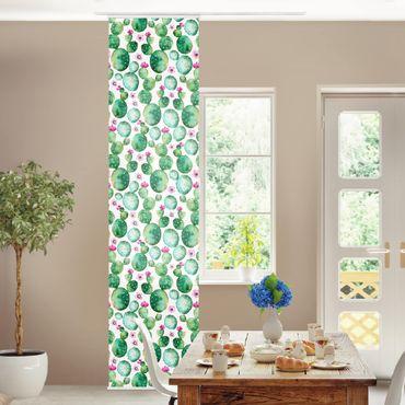 Schiebegardinen Set - Kaktus mit Blüten Aquarell - Flächenvorhänge