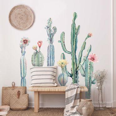 Wandtattoo - Aquarell Kaktus Blüte Set XXL