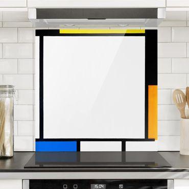 Spritzschutz Glas - Piet Mondrian - Komposition II - Quadrat 1:1