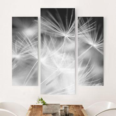 Leinwandbild 3-teilig - Bewegte Pusteblumen Nahaufnahme auf schwarzem Hintergrund - Galerie Triptychon
