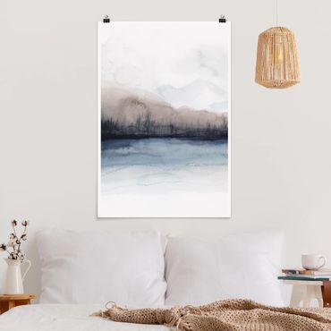Poster - Seeufer mit Bergen II - Hochformat 3:2