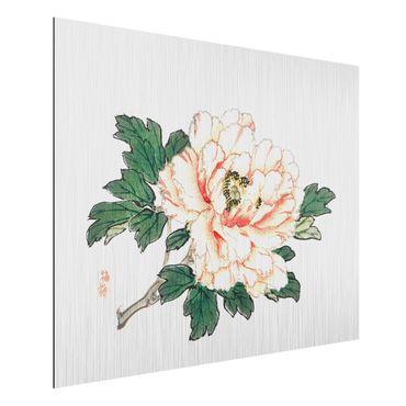 Aluminium Print gebürstet - Asiatische Vintage Zeichnung Rosa Chrysantheme - Querformat 3:4