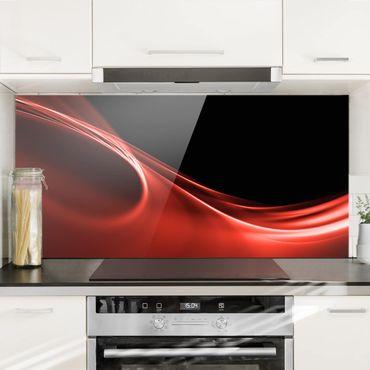 Spritzschutz Glas - Red Wave - Querformat - 2:1