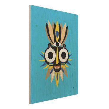 Holzbild - Collage Ethno Maske - Große Augen - Hochformat 4:3