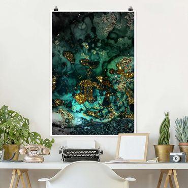 Poster - Goldene Meeres-Inseln Abstrakt - Hochformat 3:2