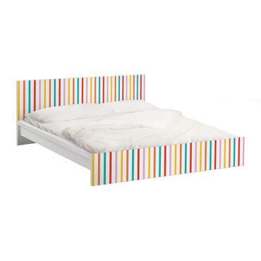 Möbelfolie für IKEA Malm Bett niedrig 180x200cm - Klebefolie No.UL750 Stripes