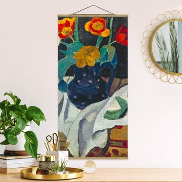 Stoffbild mit Posterleisten - Paula Modersohn-Becker - Stillleben mit Tulpen - Hochformat 2:1