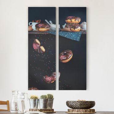 Leinwandbild 2-teilig - Donuts vom Küchenregal - Panoramen hoch 1:3