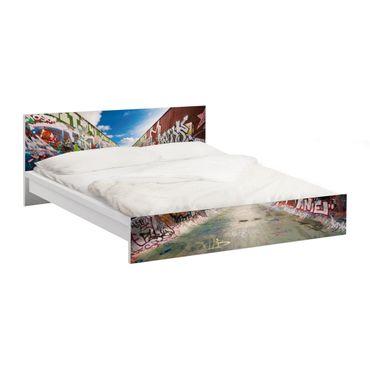 Möbelfolie für IKEA Malm Bett niedrig 140x200cm - Klebefolie Skate Graffiti